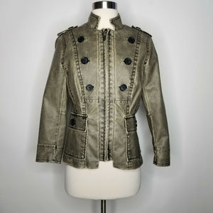 CACHE Green Faux Leather Moto Style Coat Jacket